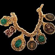 Vintage Signed FLORENZA Asian Charm Bracelet Smiling Buddha