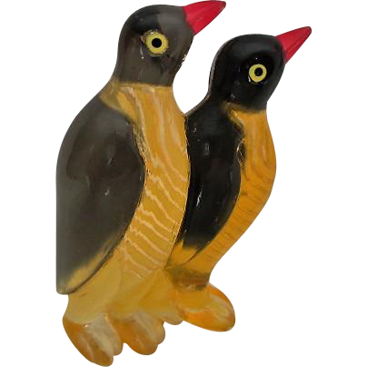 Vintage LUCITE Figural Pair of Penguins Brooch