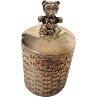 Adorable Vintage STERLING TEDDY BEAR Miniature Trinket Box