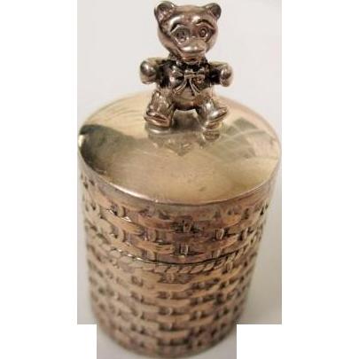 Adorable Vintage STERLING TEDDY BEAR Miniature Trinket Box