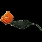 Vintage Signed SANDOR Bright Orange Enameled Long Stem Flower Brooch