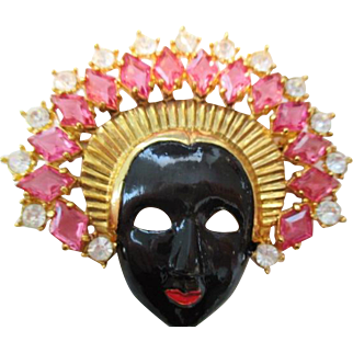 Stunning vintage Blackamoor Princess in elaborate pink crystal rhinestone Headdress