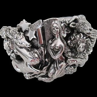 Vintage Signed TORTOLANI ZODIAC Iconic Clamper Hinged Cuff Bracelet