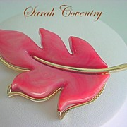 Vibrant Vintage Signed SARAH COVENTRY Huge Marbled Leaf Brooch