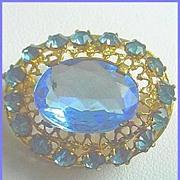 Vintage Signed CZECHOSLOVAKIAN Beautiful Sparkling Blue Pin