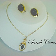 Romantic Vintage Signed SARAH COVENTRY CAMEO Necklace & Earrings