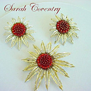 Rich Amber Glass Vintage Signed SARAH COVENTRY  Floral Demi-Parure