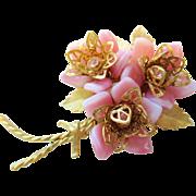 Vintage signed COROCRAFT Glass Flower Brooch molded glass petals.