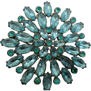 Vintage Beauty Large AQUA RHINESTONE Brooch Pin