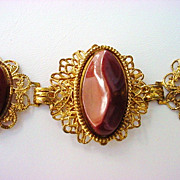 Mid-Century Thermoset Brown Victorian Revival Bracelet