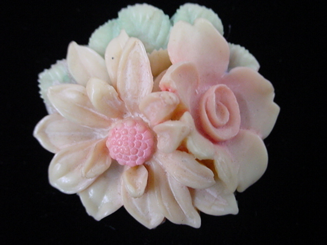 1930's Celluloid Floral Brooch Shades of Pink Green