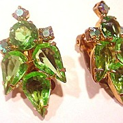 Brilliant JULIANA Vintage Rhinestone w/ Aurora Borealis Clip Earrings