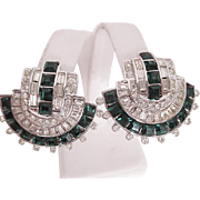 Vintage signed WEINBERG NEW YORK Deco style Emerald and Clear Clip Back Earrings