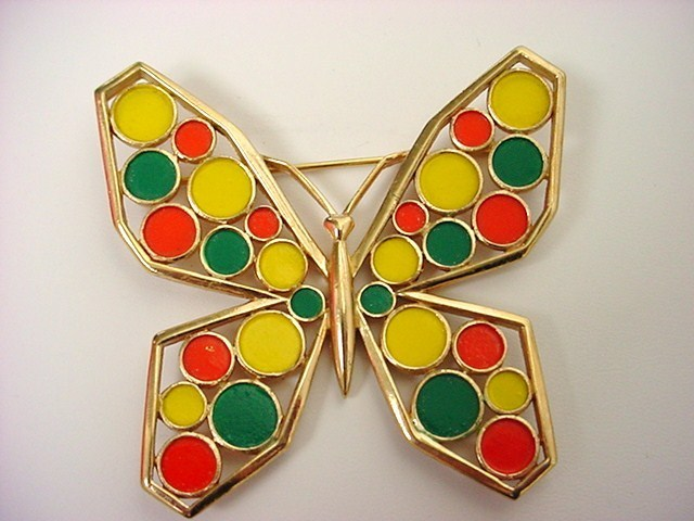 Vintage Signed TRIFARI MOD Enameled Large Butterfly Brooch