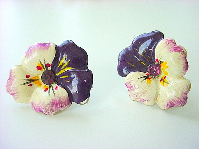 Vintage CELLULOID Pansy Earrings Amethyst Rhinestones