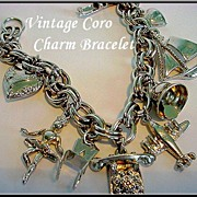 Late 1940's-Early 1950's CORO Charm Bracelet Puffy Hearts & More