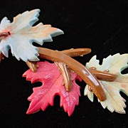 Unique 3 layer Vintage Autumn Leaf Long Brooch Pin of Leaves