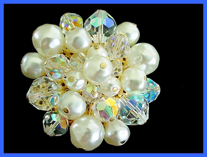 Ultimate Sparkle! Vintage AURORA BOREALIS Simulated Pearl Brooch