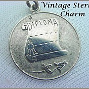 Vintage WELLS STERLING Charm - Wonderfully Detailed Diploma - Graduate