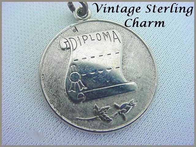 Vintage WELLS STERLING Charm - Wonderfully Detailed Diploma - Graduate
