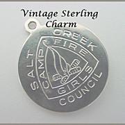 Vintage STERLING Camp Fire Girls Charm - Salt Creek Council