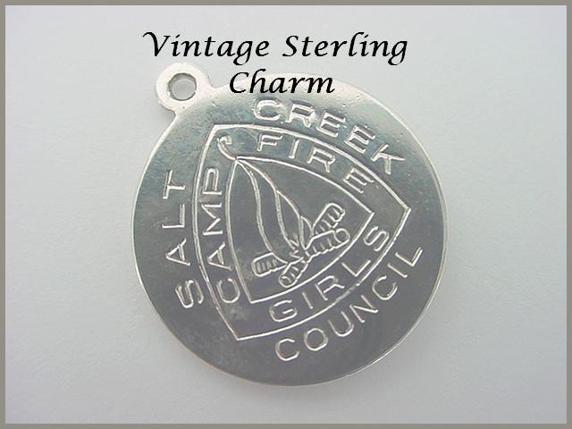 Vintage STERLING Camp Fire Girls Charm - Salt Creek Council