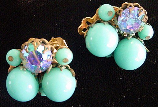 Feminine Signed EUGENE Deep Rich Aqua Beaded w/ Aurora Borealis Earrings