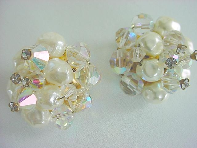 Vintage Simulated Baroque Pearl AB CRYSTAL & Rhinestone Montees Earrings