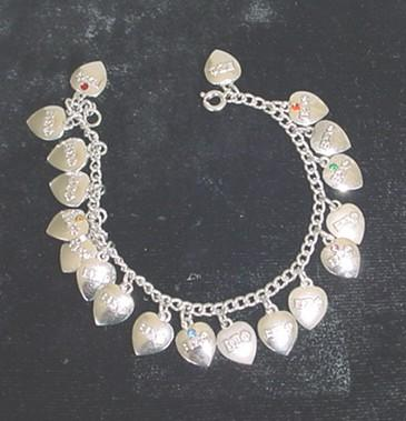 Vintage BETA SIGMA PHI Charm Bracelet Sterling Silver Heart Charms