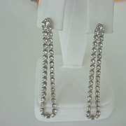 Romantic Vintage RHINESTONE Long Dangle Drop Earrings