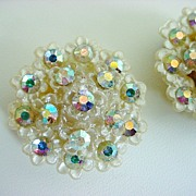 Large Vintage Plastic & Celluloid Earrings  Aurora Borealis Rhinestones