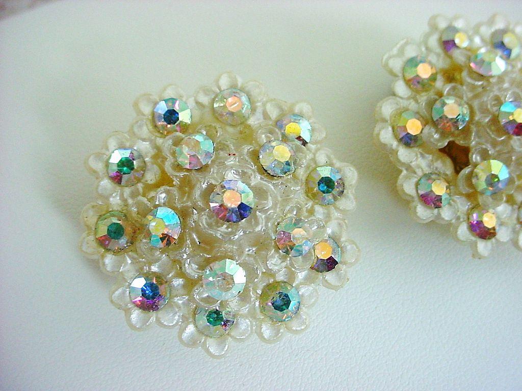 Large Vintage Plastic & Celluloid Earrings  Aurora Borealis Rhinestones