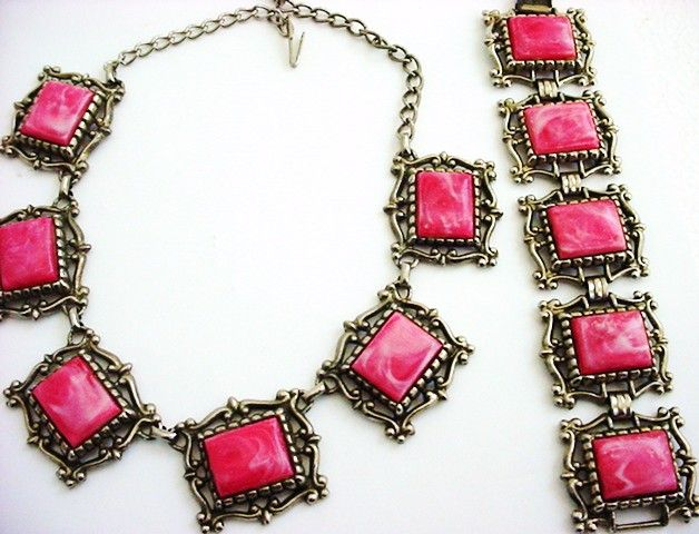 Mid-Century Thermoset Large Chunky Pink Panel Etruscan Revival Necklace Bracelet