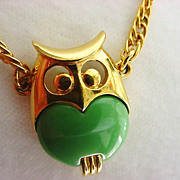 Vintage Signed  TRIFARI  Mod Green Belly Owl Necklace