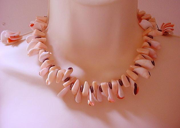 MIRIAM HASKELL Faux Angel Skin Coral Necklace & Earrings.