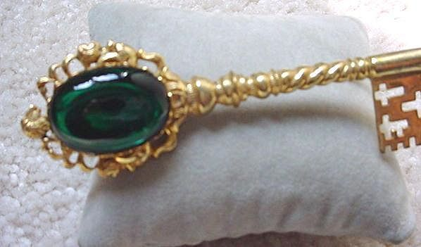 HUGE Signed MIRIAM HASKELL  Russian Gold Plated & Emerald Key Brooch
