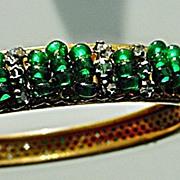 Exquisitely Beaded Signed MIRIAM HASKELL RICH EMERALD GREEN & Rhinestone Vintage Bracelet