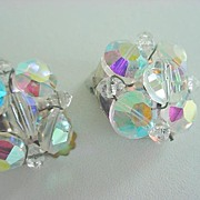 Dazzling Vintage AURORA BOREALIS Crystal Beaded Earrings