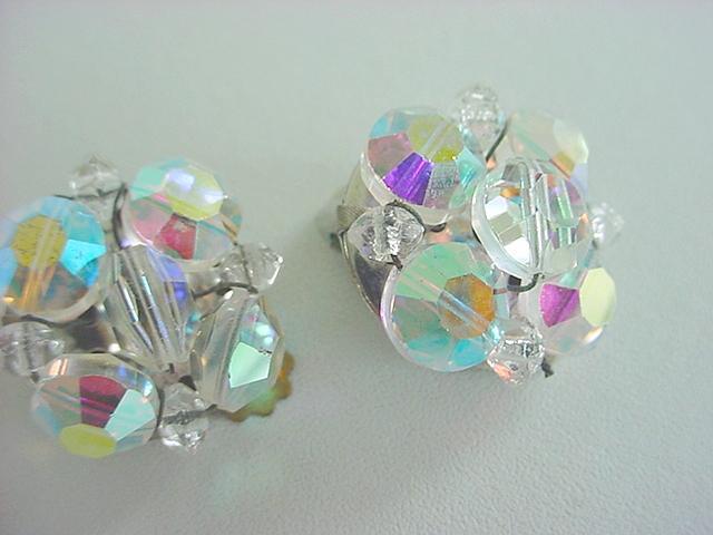 Dazzling Vintage AURORA BOREALIS Crystal Beaded Earrings