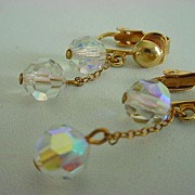 Vintage AURORA BOREALIS Crystal Drop Earrings