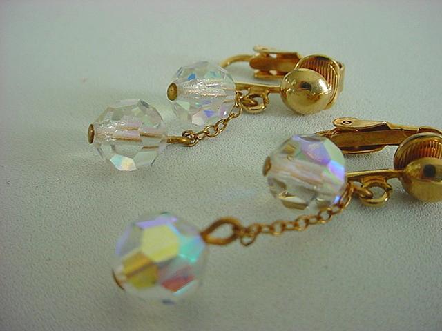 Vintage AURORA BOREALIS Crystal Drop Earrings