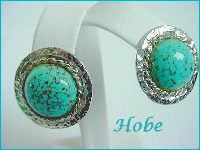 Vintage Signed HOBE Large Showy Faux Turquoise Earrings