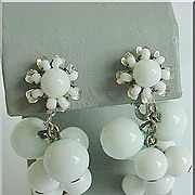 MIRIAM HASKELL Signed Vintage Dangle Drop Earrings 1940's