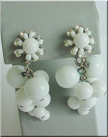 MIRIAM HASKELL Signed Vintage Dangle Drop Earrings 1940's