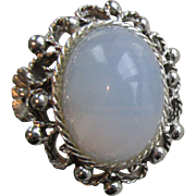 Vintage signed EMMONS Faux Blue Cabochon MOONSTONE Ring
