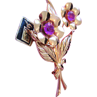 Vintage signed CORO Flower Brooch with paper tag