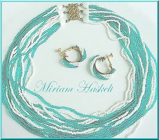 Signed Vintage MIRIAM HASKELL  Multi Strand Necklace and Earrings Set