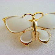 Vintage Signed Crown TRIFARI Enameled Figural Butterfly Pin