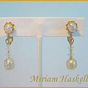 MIRIAM HASKELL Signed Vintage Simulated Pearl & Crystal Drop Earrings Vintage Beauties!