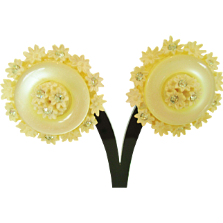 Vintage signed LEMON YELLOW MOONGLOW LUCITE Earring with rhinestones signed JAPAN